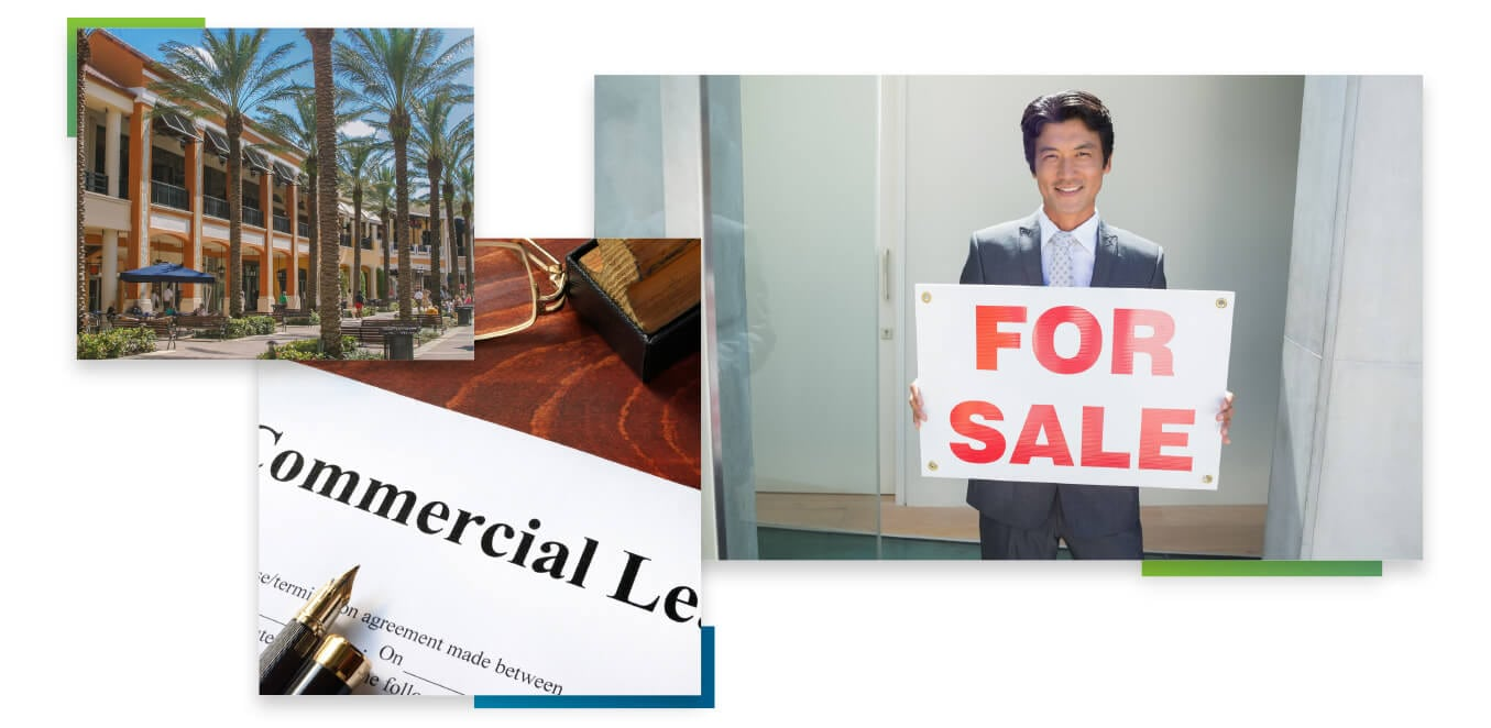 Various images of people either buying a business or commercial property